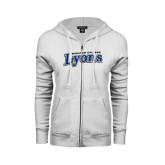 ENZA Ladies White Fleece Full Zip Hoodie-Wheaton College Lyons Wordmark