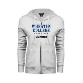 ENZA Ladies White Fleece Full Zip Hoodie-Alumnae