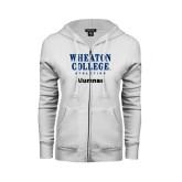 ENZA Ladies White Fleece Full Zip Hoodie-Alumnae