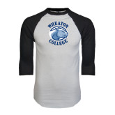 White/Black Raglan Baseball T-Shirt-Wheaton College - Lyon Head