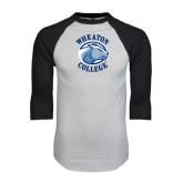 White/Black Raglan Baseball T-Shirt-Wheaton College - Lyon Head