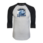 White/Black Raglan Baseball T-Shirt-Wheaton College Lyons - Lyon Head