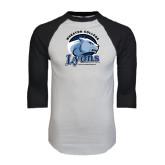 White/Black Raglan Baseball T-Shirt-Wheaton College Lyons - Lyon Head