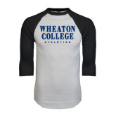 White/Black Raglan Baseball T-Shirt-Wheaton College Athletics