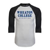 White/Black Raglan Baseball T-Shirt-Wheaton College Athletics