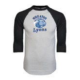 White/Black Raglan Baseball T-Shirt-Wheaton Lyons - Official Logo Distressed