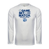 Performance White Longsleeve Shirt-Game Set Match - Tennis Design