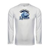 Performance White Longsleeve Shirt-Wheaton College Lyons - Lyon Head
