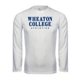 Performance White Longsleeve Shirt-Wheaton College Athletics