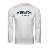 Performance White Longsleeve Shirt-Arched Wheaton College Athletics
