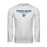 Performance White Longsleeve Shirt-Lacrosse w/ Lyon Head