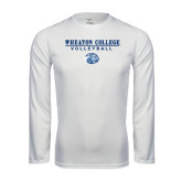 Performance White Longsleeve Shirt-Volleyball w/ Lyon Head