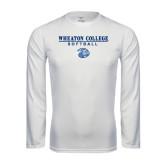 Performance White Longsleeve Shirt-Softball w/ Lyon Head
