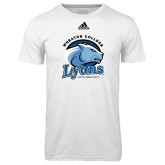 Adidas Climalite White Ultimate Performance Tee-Wheaton College Lyons - Lyon Head