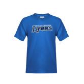 Youth Royal T Shirt-Wheaton College Lyons Wordmark
