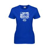 Ladies Royal T Shirt-Game Set Match - Tennis Design