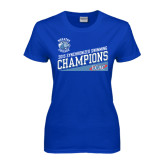 Ladies Royal T Shirt-2015 ECAC Synchronized Swimming Champions