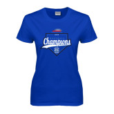 Ladies Royal T Shirt-2016 NEWMAC Champions Baseball