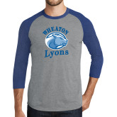 Grey/Royal Heather Tri Blend Baseball Raglan-Wheaton Lyons - Official Logo
