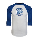 White/Royal Raglan Baseball T Shirt-Wheaton College - Lyon Head