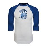White/Royal Raglan Baseball T Shirt-Wheaton College - Lyon Head