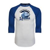 White/Royal Raglan Baseball T Shirt-Wheaton College Lyons - Lyon Head