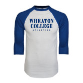 White/Royal Raglan Baseball T Shirt-Wheaton College Athletics
