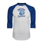 White/Royal Raglan Baseball T Shirt-Wheaton Lyons - Official Logo Distressed
