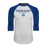 White/Royal Raglan Baseball T Shirt-Softball w/ Lyon Head