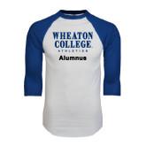 White/Royal Raglan Baseball T Shirt-Alumnus
