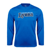 Syntrel Performance Royal Longsleeve Shirt-Wheaton College Lyons Wordmark