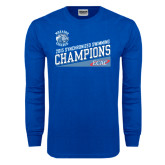 Royal Long Sleeve T Shirt-2015 ECAC Synchronized Swimming Champions