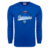 Royal Long Sleeve T Shirt-2016 NEWMAC Champions Baseball