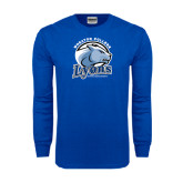 Royal Long Sleeve T Shirt-Wheaton College Lyons - Lyon Head