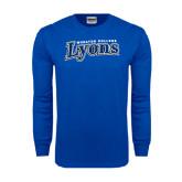 Royal Long Sleeve T Shirt-Wheaton College Lyons Wordmark