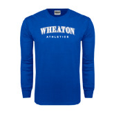Royal Long Sleeve T Shirt-Arched Wheaton College Athletics