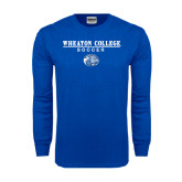 Royal Long Sleeve T Shirt-Soccer w/ Lyon Head