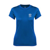 Ladies Syntrel Performance Royal Tee-Wheaton Lyons - Official Logo