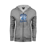 ENZA Ladies Grey Fleece Full Zip Hoodie-Wheaton Lyons - Official Logo