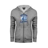 ENZA Ladies Grey Fleece Full Zip Hoodie-Wheaton Lyons - Official Logo