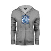 ENZA Ladies Grey Fleece Full Zip Hoodie-Wheaton College - Lyon Head