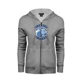 ENZA Ladies Grey Fleece Full Zip Hoodie-Wheaton College - Lyon Head