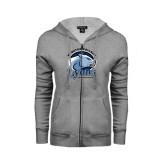 ENZA Ladies Grey Fleece Full Zip Hoodie-Wheaton College Lyons - Lyon Head