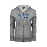 ENZA Ladies Grey Fleece Full Zip Hoodie-Wheaton College Athletics