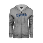 ENZA Ladies Grey Fleece Full Zip Hoodie-Wheaton College Lyons Wordmark