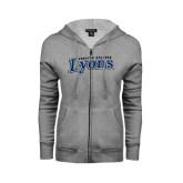 ENZA Ladies Grey Fleece Full Zip Hoodie-Wheaton College Lyons Wordmark