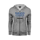 ENZA Ladies Grey Fleece Full Zip Hoodie-Alumnae