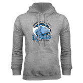 Grey Fleece Hoodie-Wheaton College Lyons - Lyon Head