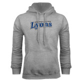 Grey Fleece Hoodie-Wheaton College Lyons Wordmark