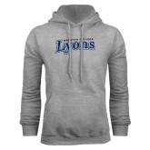Grey Fleece Hoodie-Wheaton College Lyons Wordmark